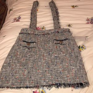Tweed suspender skirt